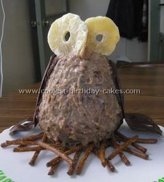Coolest Owl Shaped Birthday Cake Decorating Idea cakepins.com