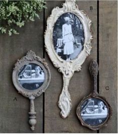 Use old hand mirrors and put old hankies in them?