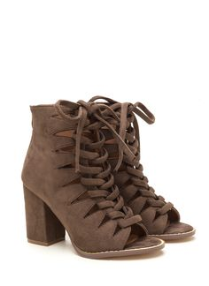 Street Cred Chunky Laced Cut-Out Booties BLACK TAUPE OLIVE - GoJane.com