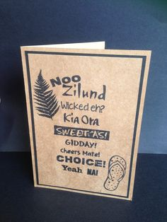 This Kiwiana Slang card is perfect to send to friends and family overseas for a bit of Kiwiana touch. Available in white or kraft. Kiwiana, Paper Design, New Zealand, Australia, Tattoo, Cards, Decor, Japanese Tattoos, Decorating