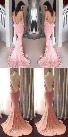 pink long prom dress, 2017 pink long prom dress, pink mermaid long prom dress, sexy long prom dress with cross back