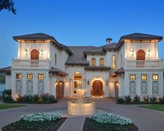 Exterior What to Look for on Classic House Exterior Design: Luxury Grand Classic House Exterior Design Idea With Pale White Painted Wall Mix Warm Nuance Beautiful Design Wall Lamp Also Soft Cream Artistic Carved Fountain