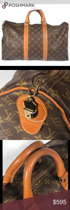 Louis Vuitton French Company Keepall 45 Monogram * Some light watermarks/ stains on vachetta  * Some light dirt/ scuff marks on canvas * Handles have some darkening from use * Key tab snaps in and out of place but no key * Zipper works properly * Bag smells of material * Brass hardware shows some tarnishing (can be buffed and cleaned to shine if desired) * No rips or tears noticed * Inside shows light staining from use  This vintage bag is in great condition with many of the imperfections…