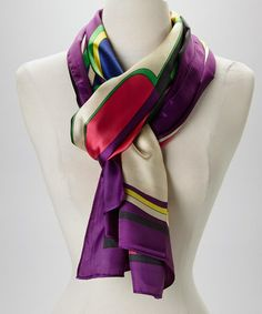 Purple & Seafoam Abstract Silk-Blend Scarf by Italmode #zulily #zulilyfinds