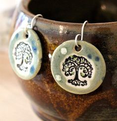 Tree Ceramic Earrings in Spotted Green by surly on Etsy, $22.00