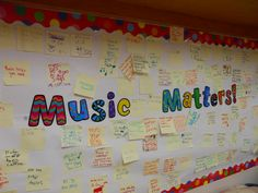 Music Matters! Each student wrote one reason that music education is important and we shared this board with their families at conferences!