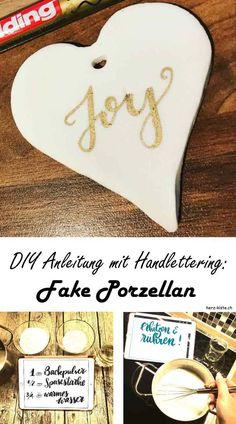 Erstelle selber Fake Porzellan nach dieser DIY Anleitung! Dieses selbstgemachte Fake Porzellan kannst du für Geschenkanhänger, Deko oder kleine Geschenke brauchen und es mit Handlettering verzieren. Verschenke Freude mit dieser Geschenkidee!