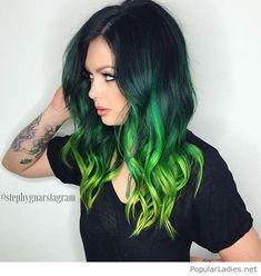 Black to green hair color idea