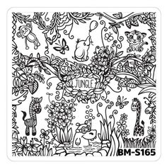 Nail Art Stamping Plates - Fuzzy and Ferocious: BM-S165, Jungle Animals