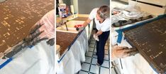 applying feather finish concrete over tile counters on the front edge Painting Tile Countertops, Diy Concrete Countertops, Tile Counters, Laminate Countertops, Wood Laminate, Kitchen Countertops, Backsplash, Concrete Shower, Cement