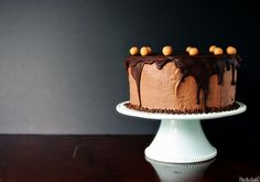 Chocolate Peanut Butter Birthday Cake @FoodBlogs