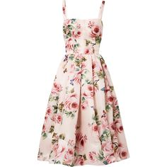 Dolce & Gabbana Pleated floral-print silk-organza midi dress ($3,815) ❤ liked on Polyvore featuring dresses, colorful summer dresses, floral summer dresses, floral print midi dress, rose pink dress and midi dress