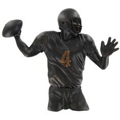 "Show off your love and passion for sports with this polyresin Black & Bronze Football Quarterback Wall Decor.    	Measurements: 13"" wide x 11 1/2"" high x 1 7/8"" thick"