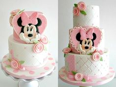 Ideas For Birthday Cupcakes Fondant Girls Minnie Mouse Bolo Do Mickey Mouse, Mickey And Minnie Cake, Bolo Minnie, Minnie Mouse Cake, Mickey Cakes, Pink Minnie, Baby Cakes, Girl Cakes, Cupcake Cakes