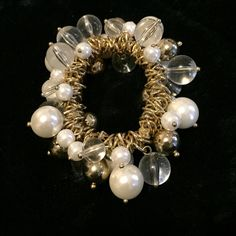 expandable bauble bracelet expandable bauble bracelet with gold and clear beads and pearls Jewelry Bracelets