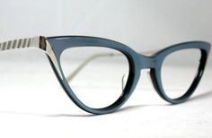 Vintage 60s Cat Eye Eyeglass Frames. Blue by CollectableSpectacle