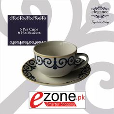 Buy 12 Pieces Tea Cup Set ( Blue Color Design )