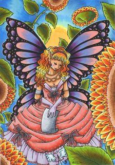 """Poster """"Butterfly Fairy"""" von Angelia Arts  auf DaWanda.com"""