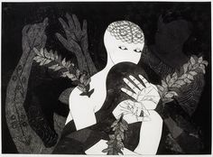 Untitled (Black figure carrying a white one) | Belkis Ayón