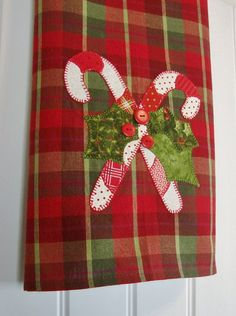 Candy Canes & Holly a Homespun Tea Towel by TwoGirlsLaughing, $20.00