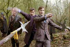 "John Hurt, Matt Smith and David Tennant in ""The Day of the Doctor"""