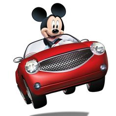 Mickey mouse riding on his convertible