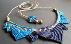 blue macrame lotus necklace boho bohemian hippie micro macrame necklace