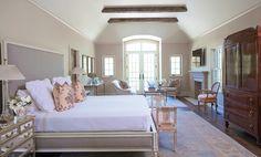 Master bedroom with sitting area, fireplace, flat screen, doors to balcony    Birmingham Home & Garden - May/June 2013 - Birmingham