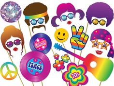 70s Party Photo Booth Props Set. Instant Download Photobooth. Hippie, Afro Wig, Glitter ball, Peace, Love, Flower Power. 60s - 70s. 0160