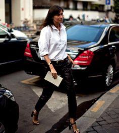 Emmanuelle Alt Emmanuelle Alt Style, Mafia, Celine, Glamorous Evening Gowns, Paris Girl, Dressing, Street Style, Leather Trousers, French Chic
