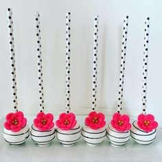 Floral cake pops at a Kate Spade bridal shower party! See more party planning ideas at http://CatchMyParty.com!