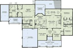 House Plan 82074 Like the laundry room off garage and separate. Like the master layout and that it's in the back. Stair area off the master could be dog room. Don't like kitchen. Don't need dining room or bdrm 2.