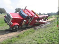 A wrecked wrecker  Oops, guess driver wasn't meant for this line of work hee hee