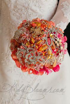 Fall Wedding Brooch Bouquet. Deposit Sunset Dunes by Rubybloomscom
