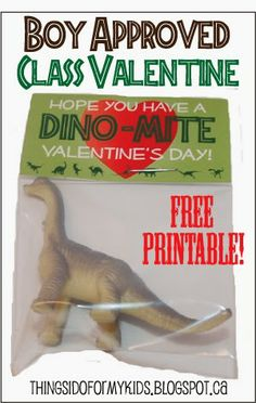 Dino-mite Valentine Class Gift. Boy Approved. Free Printable! Candy free Valentine's Day gift.