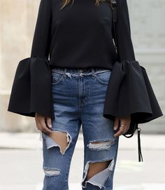 Bell Sleeves and Ripped Jeans for Paris Fashion Week