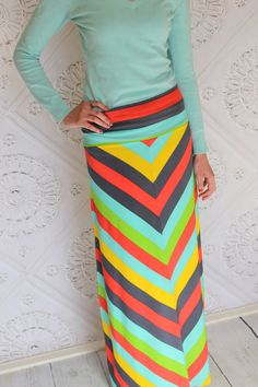 Chevron Summer Striped Maxi skirt for Teen's or by Gogreenstyle, $58.00
