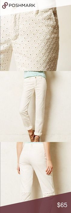 "Anthropologie Pilcro Hyphen Eyelet Chino size 28 Brand new with tags. Off-white/ivory. By Pilcro Cotton, spandex Front slant, back welt pockets Machine wash  Dimensions Regular: 30.5"" inseam 7.5"" rise; 13"" ankle Anthropologie Pants Straight Leg"
