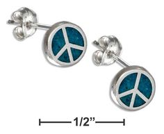 Sterling Silver Simulated Turquoise Peace Sign Earrings Hypo-Allergenic Steel Posts