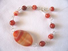 bracelet and earrings red agate
