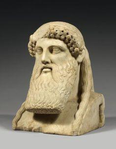.Hermes Propylaios Affranchissement au niveau des boucles de cheveux, restauration du nez et d'une partie de la barbe, quelques éclats, .Art romain.1er siecle ap JC