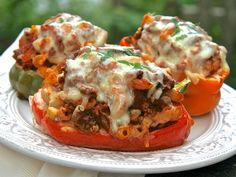 Pizzeria-Style Sausage & Pepperoni Goulash Stuffed Peppers Smothered with Five Italian Cheeses