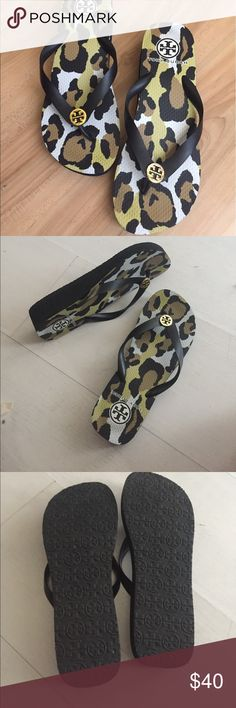 Tory Burch Wedge Flip Flop Thong Sandal Low wedge black with animal print. 1.5inch / 39mm platform. Excellent condition. Tory Burch Shoes Sandals