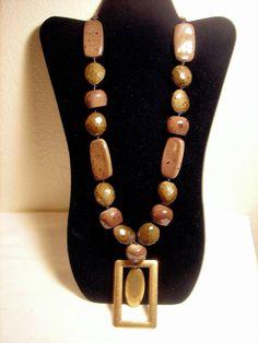 Chico's Bead Necklace Pendant Olive Green #Chicos #Pendant