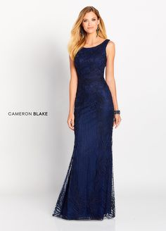 ce5865149c2 Cameron Blake 119644 - This sophisticated and gorgeously detailed  sleeveless allover lace sheath features a Sabrina