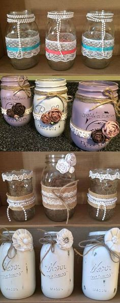 Mason Jars Hand Painted and Decorated Mason Jars The Best Cheap Ways to Decorate Your Home Check out these darling DIY Jar Crafts, Bottle Crafts, Diy And Crafts, Mason Jar Gifts, Mason Jar Diy, Mason Jar Projects, Diy Projects, Jar Art, Decorated Jars