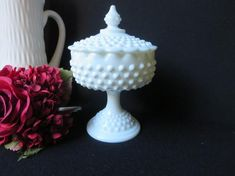 Careful Vintage Fenton Silver Crest Milk Glass Footed Crimped Ruffle Edge Bowl Dish Superior Quality In