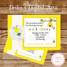 Bee Birthday Invitation Printable by Drikasdigitalarts on Etsy