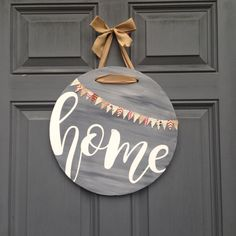 Round home front door hanging sign, front porch front door decor, housewarming gift, hand painted wood home sign by HappyHootCreation on Etsy https://www.etsy.com/listing/490824510/round-home-front-door-hanging-sign-front