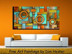 Abstract painting, large 24x48 on canvas, geometric design,  one of a kind,  HesterPainting by Don Hester on Etsy, $220.00